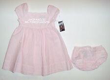 DRESS & PANTIES SET – PINK & WHITE PINSTRIPES - 100% COTTON - INFANT–12 MO – NWT