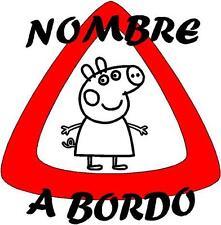(1017)-BEBE A BORDO PERSONALIZADO VINILO PEGATINA PERSONALIZABLE PEPPA PIG