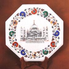 White Marble Small Coffee Table Top Multi Floral Taj Mahal Inlay Art Decor H3729