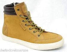 JACK & JONES JJ MONTON Leather Golden Brown chaussures baskets cuir beige homme