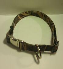 "Large Camouflage 1"" Adjustable Dog Collar Metal Buckles  22 to 34.5 W/ Leash"