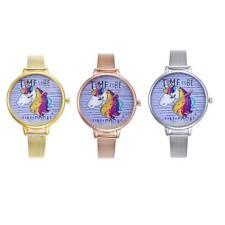 Women Cute Cartoon Horse Pattern Mesh Strap Gift Casual Quartz Wrist Watch
