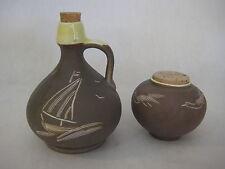 Israel Art Pottery Hand Carved Small Bottle Jar & Pot W/ Cork Lid, Signed (Rare)