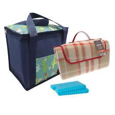 Picnic Blanket Mat Cooler Basket Bag Freezer Ice Packs Holiday Beach Outdoor