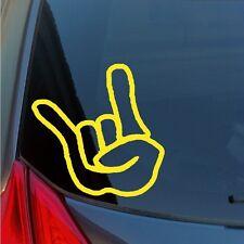 ROCK ON vinyl sticker hand sign Corna metal rocker Hook em Horns Texas concert