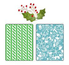 Sizzix Alpine Pattern Emboss set #658191 Retail $10.99 FREE Holly & Berries die!