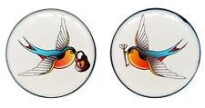 SWALLOW BIRDS FLESH PLUGS LOCK & KEY TATTOO STYLE EAR TUNNEL STRETCHER - PAIR
