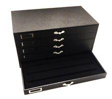 120 Pair Earring Grain Leatherette 5 Drawer Wood Jewelry Storage Organizer Case