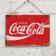 ENJOY COKE Rouge Vintage Métal Mural Signe Cola Rétro Cuisine beach bar Tiki Col...