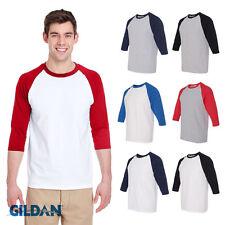 New Raglan 3/4 Sleeve Gildan Mens Raglan Tee Cotton Team Sports T-Shirt S-3XL