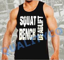 Men's Squat Bench Deadlift Workout Gym Bodybuilding Black Muscle Tank Top Beast