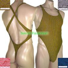 R728 C Mens Thong Bodysuit High Cut Onesie X Cross Back Poly Cotton