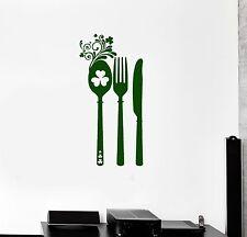 Vinyl Decal Irish Cutlery Shamrock Kitchen Patterns Decor Wall Stickers (ig3278)