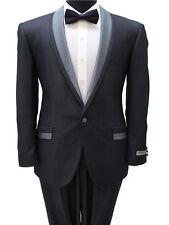 Men's 1 Buton 3/4 Black Satin Shawl Collar Flat Front Pants Slim Fit Suit Tuxedo