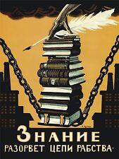 POLITICAL PROPAGANDA KNOWLEDGE BREAK CHAINS SLAVERY SOVIET UNION POSTER 1864PYLV