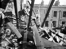Boy Debris UK Flag London WWII War WW2 Old Retro BW Giant Wall Print POSTER