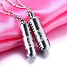 Memorial Urn Necklace Keepsake Pendant Silver Chain Vial Tube Fashion Lovers