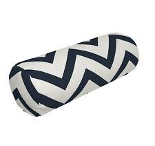 le06g Dark Blue on Beige Zig Zag Cotton Canvas Yoga Case Bolster Cushion Cover