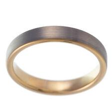 Carburo di Tungsteno banda wedding Engagement Ring IPB Rose Oro Spazzolato Comfort 4 mm