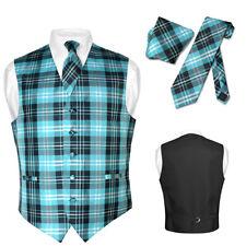 Men's Plaid Design Dress Vest NeckTie Black TURQUOISE White Neck Tie Hanky Set