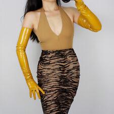 """LATEX LONG GLOVES Shine Leather Faux Patent PU 28"""" 70cm Opera Mustard Yellow"""