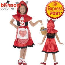 CK437 Miss Hood Little Red Riding Book Week Fancy Dress Girls Kids Party Costume