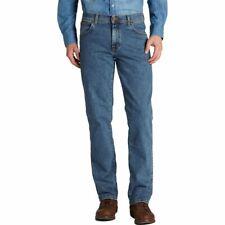 Uomo Wrangler Taglio Regolare Stile Texas Jeans Stretch Stonewash Blu