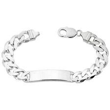 "11mm Sterling Silver Italian Cuban Curb Link ID 8""-9"" Bracelet, Free Engraving"