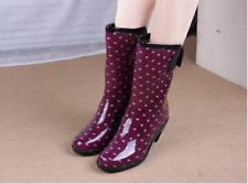 Fashion Women's Rain Boots PVC Waterproof Block Heel Skidproof Water Shoes U021