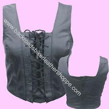 Ladies Women Lambskin Leather Halter Tank Top Biker Club Wear sizes XS-3X