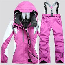 Women's Winter Sports Waterproof Jacket Coat Snowboard Clothing Ski Suit Pants