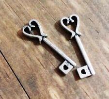 Heart Key Charms Antiqued Silver Skeleton Keys Steampunk Findings Bulk 25/50+