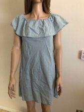 Women's NWT American Rag Light Demin Ruffle Off-The-Shoulder Chamber Dress
