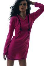 Womens Hot Pink Black Fleece WARM Hooded Pjs Pajamas Nightgown Size Medium NEW