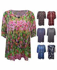 New Women Ladies Print Short Sleeve Scoop Neck Casual Top T-shirt PlusSize 16-26