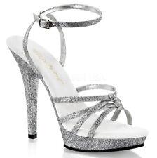 """Pleaser 5"""" silver glitter wrap around strap sandals"""