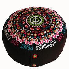 Meditation Cushion Higher Zafu Buckwheat & Kapok Pillow - Rare Find Fabrics