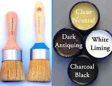 Chalk Furniture Paint Brushes 1 Lg. & 1 Medium Wax Brush & 1 6 oz wax. 4 colors