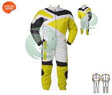 jaune 1 & 2 pièce COURSE Combinaison de moto cuir avec armors COMPATIBLE