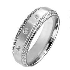 Diamond 0.06 CT Wedding Anniversary Bridal Brushed Titanium Band Step Edge Ring
