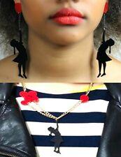 BANKSY INSPIRED EARRINGS NECKLACE Girl Red Balloon Dangle Graffiti Art Gift