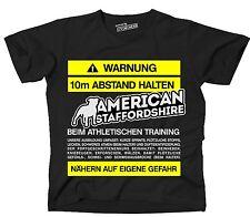 T-shirt avviso distanza American Staffordshire allenamento divertente frase siviwonder