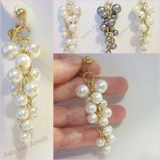 "CLIP ON Faux Glass Pearl Cluster 2.5"" Non-Pierced Earrings,1Pr  White,Cream,Gray"