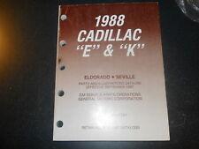 1988 CADILLLAC E K PARTS CATALOG 88 CDN