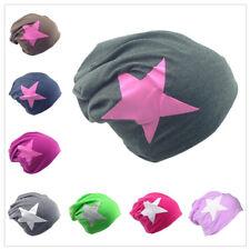 Beanie Mütze Unifarbe mit Weiß/Pink Stern Herren Damen Mützen Jersey Slouch
