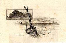 Stampa antica ZEMBRA ZEMBRETTA barche a vela Tunisia 1892 Old Print