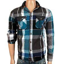 RVLT REVOLUTION BOWIE Shirt Camicia Blu Grigio a Quadri Manica Lunga dayshirt Blue a quadri