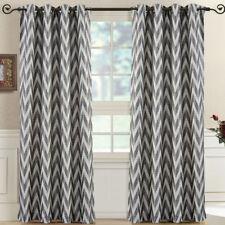 Pair (Set of 2) Lisette Chevron Top Grommet Window Curtain Panels