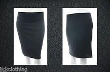 New Size 16 - 26 Stretch Black Knee Length Skirt Elastic Waist Womens *LICK*