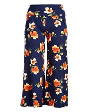 New Women Plus Size Navy Orange Flower High Waist Palazzo Pants Sizes 1X 2X 3X